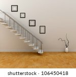 room with stairs and frames | Shutterstock . vector #106450418