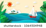 sailboat in the sea  sun clouds ... | Shutterstock .eps vector #1064504948