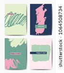 set of art postcards  modern... | Shutterstock .eps vector #1064508734