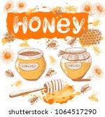 vector set on a theme of honey. ...   Shutterstock .eps vector #1064517290