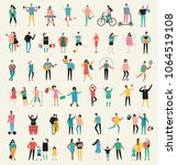 set of vector illustration in a ... | Shutterstock .eps vector #1064519108