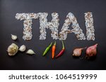 thai organic brown rice grains... | Shutterstock . vector #1064519999