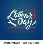 Happy Labour Day handwritten lettering. Happy Labour Day typography vector design for greeting cards and poster. Design template celebration. Vector illustration. - stock vector