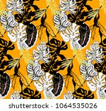 modern tropical pattern with... | Shutterstock .eps vector #1064535026