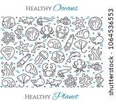 world oceans day theme black... | Shutterstock .eps vector #1064536553