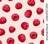 raspberries seamless pattern.... | Shutterstock .eps vector #1064537390