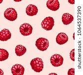 raspberries seamless pattern.... | Shutterstock .eps vector #1064537390
