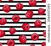 raspberries striped seamless... | Shutterstock .eps vector #1064537393