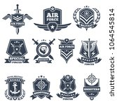 military logos and badges. army ...   Shutterstock .eps vector #1064545814
