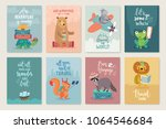 travel animals card set  hand... | Shutterstock .eps vector #1064546684