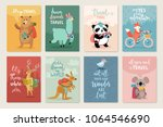travel animals card set with... | Shutterstock .eps vector #1064546690