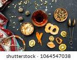 azerbaijani black tea in armudu ...   Shutterstock . vector #1064547038