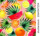 natural pattern with tropical... | Shutterstock . vector #1064547254