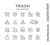 set line icons of trash | Shutterstock .eps vector #1064547839