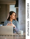 young business woman on the...   Shutterstock . vector #1064551184