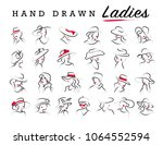 artistic hand drawn stylish... | Shutterstock . vector #1064552594