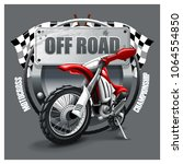 extreme red off road motorbike  ... | Shutterstock .eps vector #1064554850