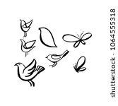 hand sketched birds. black cut... | Shutterstock .eps vector #1064555318