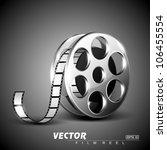 film reel on grey stage... | Shutterstock .eps vector #106455554