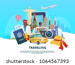 travel background illustration... | Shutterstock .eps vector #1064567393