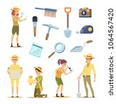 archaeologists characters and... | Shutterstock .eps vector #1064567420