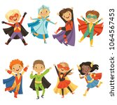 kids in superhero costumes.... | Shutterstock .eps vector #1064567453