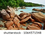 tropical sand beach with... | Shutterstock . vector #1064571548