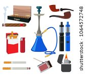 hookah  tobacco  cigarette and... | Shutterstock .eps vector #1064572748