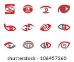 set of eye sign templates and...