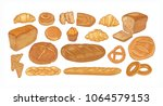 set of breads and baked... | Shutterstock .eps vector #1064579153