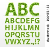 Green Leaves  Font. Vector...