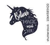 unicorn head silhouette .... | Shutterstock .eps vector #1064585420