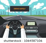 drive safely concept. the... | Shutterstock .eps vector #1064587106