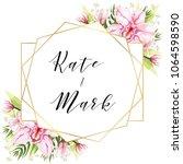 wedding watercolor template ... | Shutterstock .eps vector #1064598590