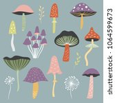 set of vector mushrooms | Shutterstock .eps vector #1064599673