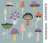 set of vector mushrooms | Shutterstock .eps vector #1064599673