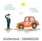 a man is standing next to a... | Shutterstock .eps vector #1064602103