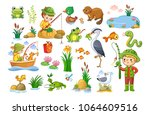 Stock vector vector set on a fishing theme an animal pond children are fishing collection of vector 1064609516