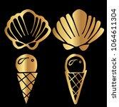 gold vector of summer sea shell ...   Shutterstock .eps vector #1064611304