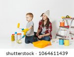 mother and small son with...   Shutterstock . vector #1064611439