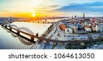 panoramic view of city riga... | Shutterstock . vector #1064613050