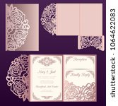 die laser cut wedding card... | Shutterstock .eps vector #1064622083