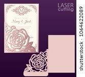 die laser cut wedding card... | Shutterstock .eps vector #1064622089