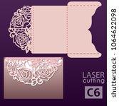 laser cut wedding invitation... | Shutterstock .eps vector #1064622098