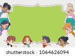 card with a group of happy... | Shutterstock .eps vector #1064626094