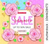 summer sale banner design with... | Shutterstock .eps vector #1064628473