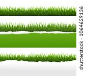 green grass and ripped paper... | Shutterstock . vector #1064629136
