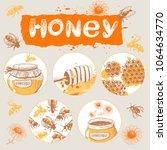vector set on a theme of honey. ...   Shutterstock .eps vector #1064634770
