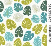 vector tropical pattern with... | Shutterstock .eps vector #1064637650
