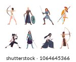 collection of female warriors... | Shutterstock .eps vector #1064645366